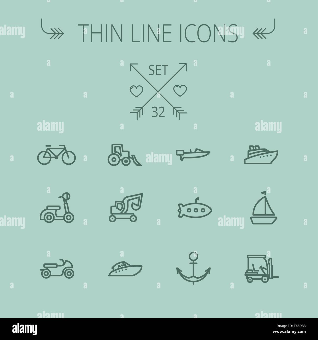 Transportation thin line icon set - Stock Image