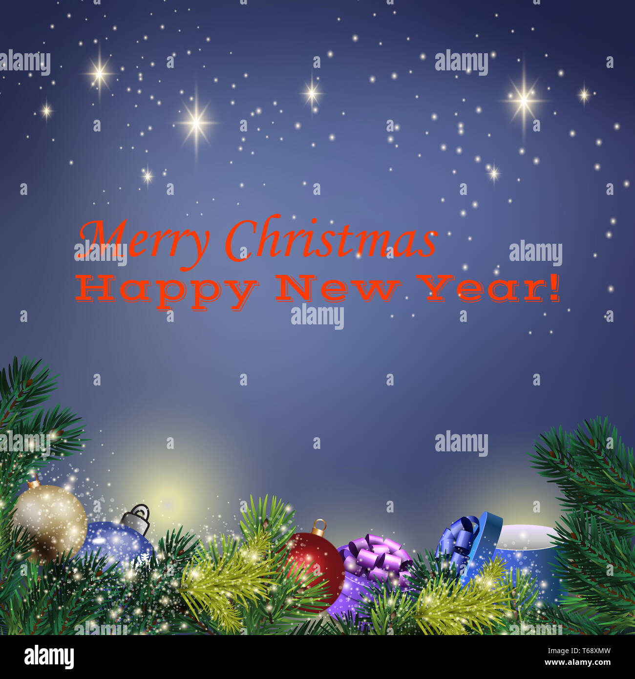 Holyday background with Christmas toys and spruce branches - Stock Image