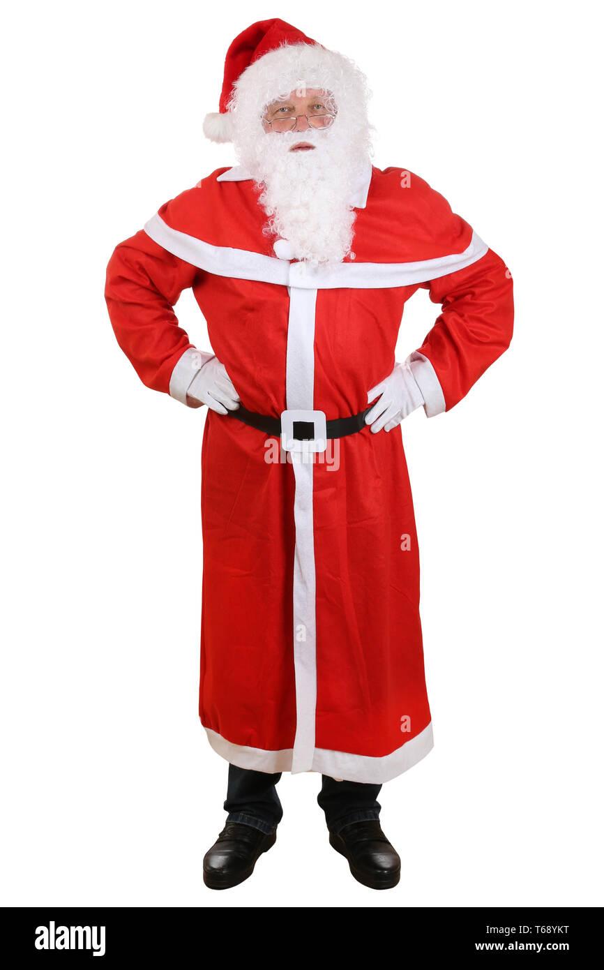 Weihnachtsmann Nikolaus mit Mütze und Bart an Weihnachten Ganzkörper Freisteller - Stock Image