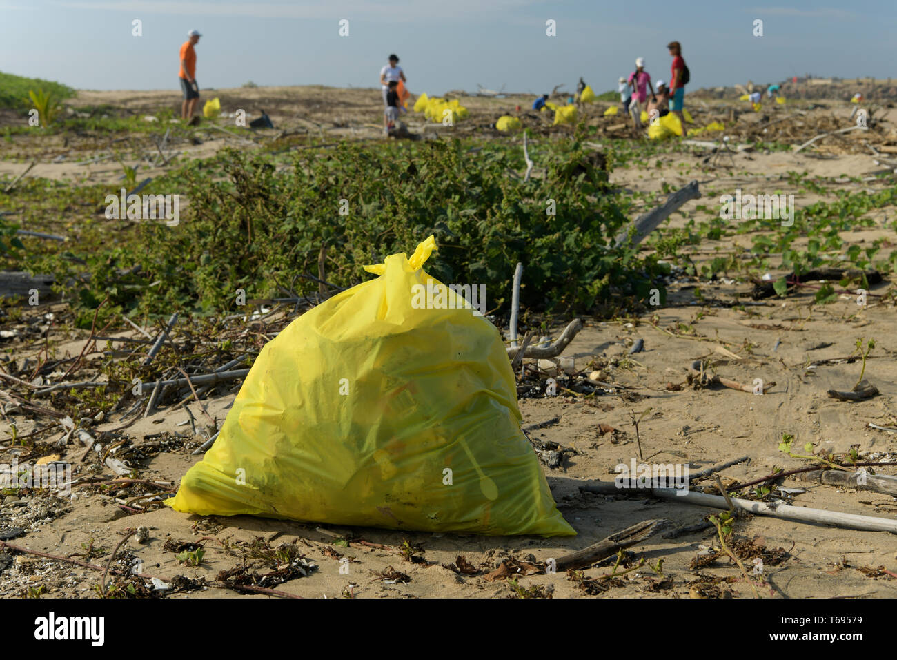 Durban, KwaZulu-Natal, South Africa, yellow bag full of plastic pollution collected by citizen volunteers, beach cleaning, landscape, people - Stock Image