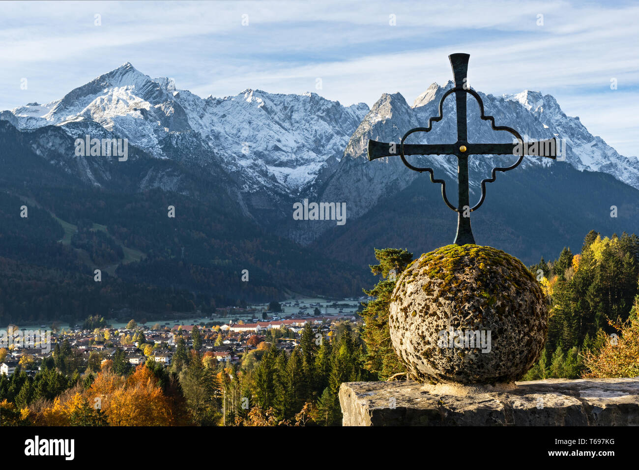 Look to the Zugspitze, the highest mountain in Germany - Stock Image