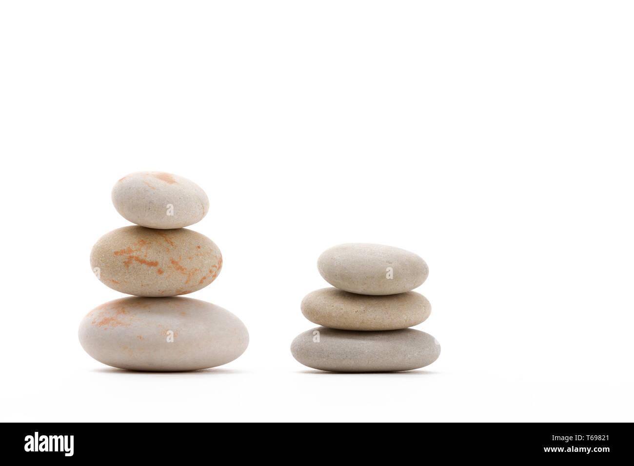 balancing zen stones isolated - Stock Image
