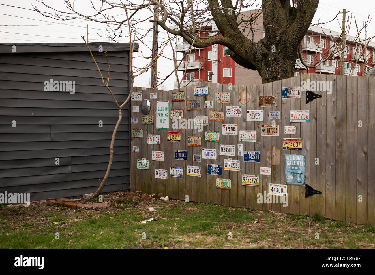 A Collection Of Vintage License Plates Hanging On A Wooden Fence In The Fountain Square Neighborhood Of Indianapolis Indiana Usa Stock Photo Alamy