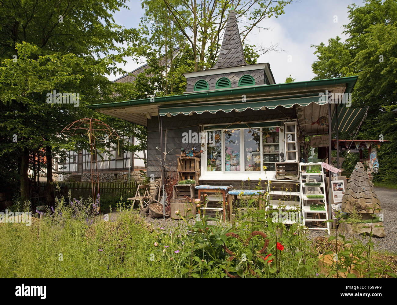 historical kiosk in the open-air museum, Lindlar, Bergisches Land, North Rhine-Westphalia, Germany - Stock Image