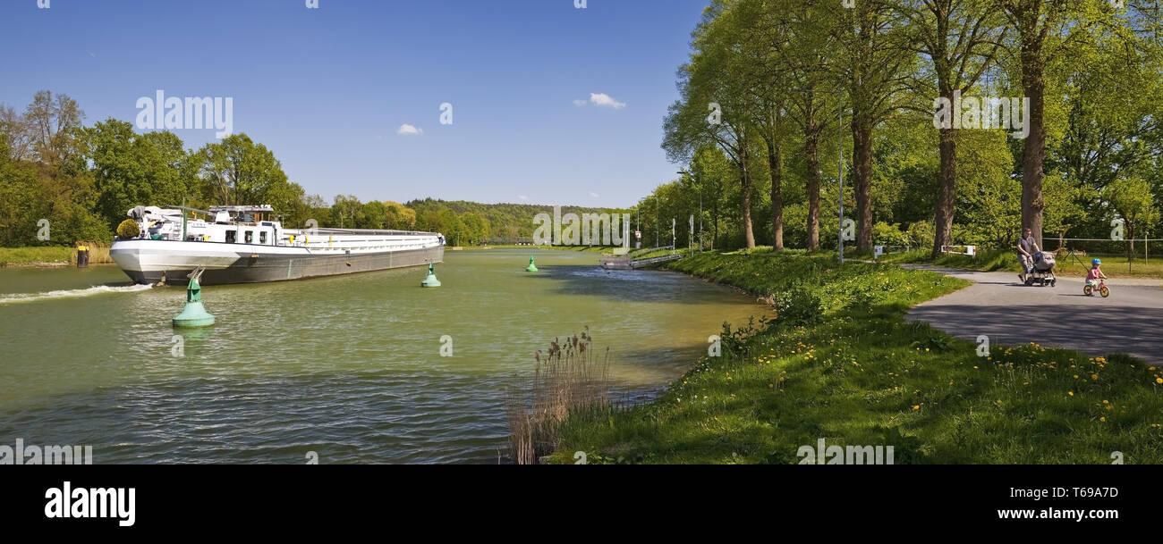 barge on Dortmund Ems Canal, Hoerstel, Muensterland, North Rhine-Westphalia, Germany - Stock Image