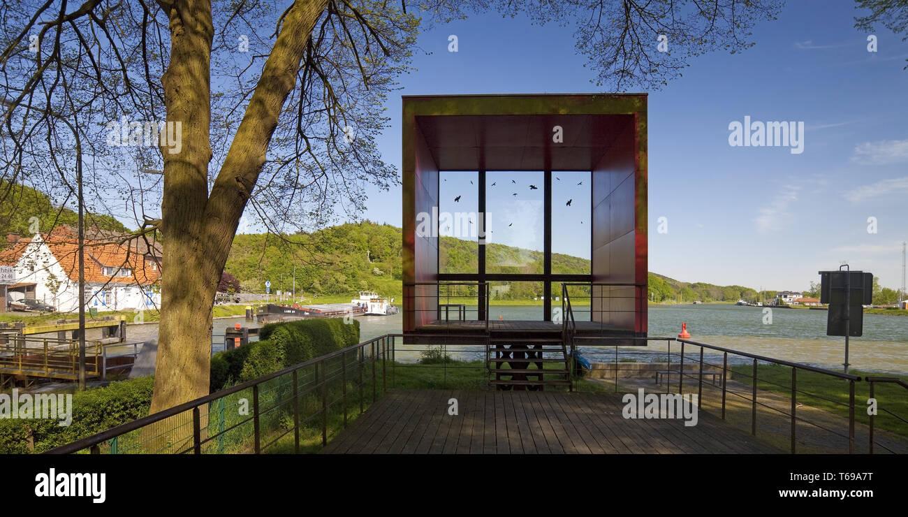 red box at the Dortmund Ems Canal at Nasses Dreieck, Hoerstel, North Rhine-Westphalia, Germany - Stock Image