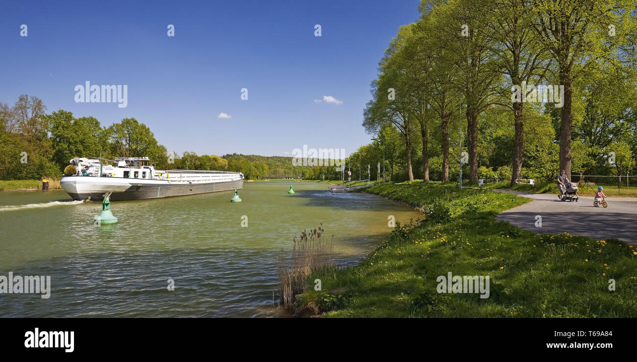 barge on Dortmund Ems Canal, Hoerstel, Muensterland, North Rhine-Westphalia, Germany Stock Photo