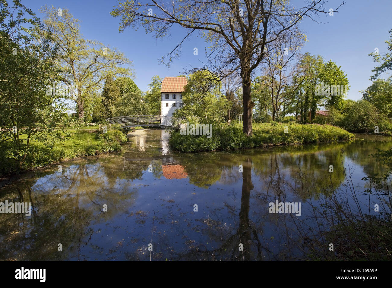 court Bispinghof with ditch and granary, Nordwalde, Muensterland, North Rhine-Westphalia, Germany - Stock Image