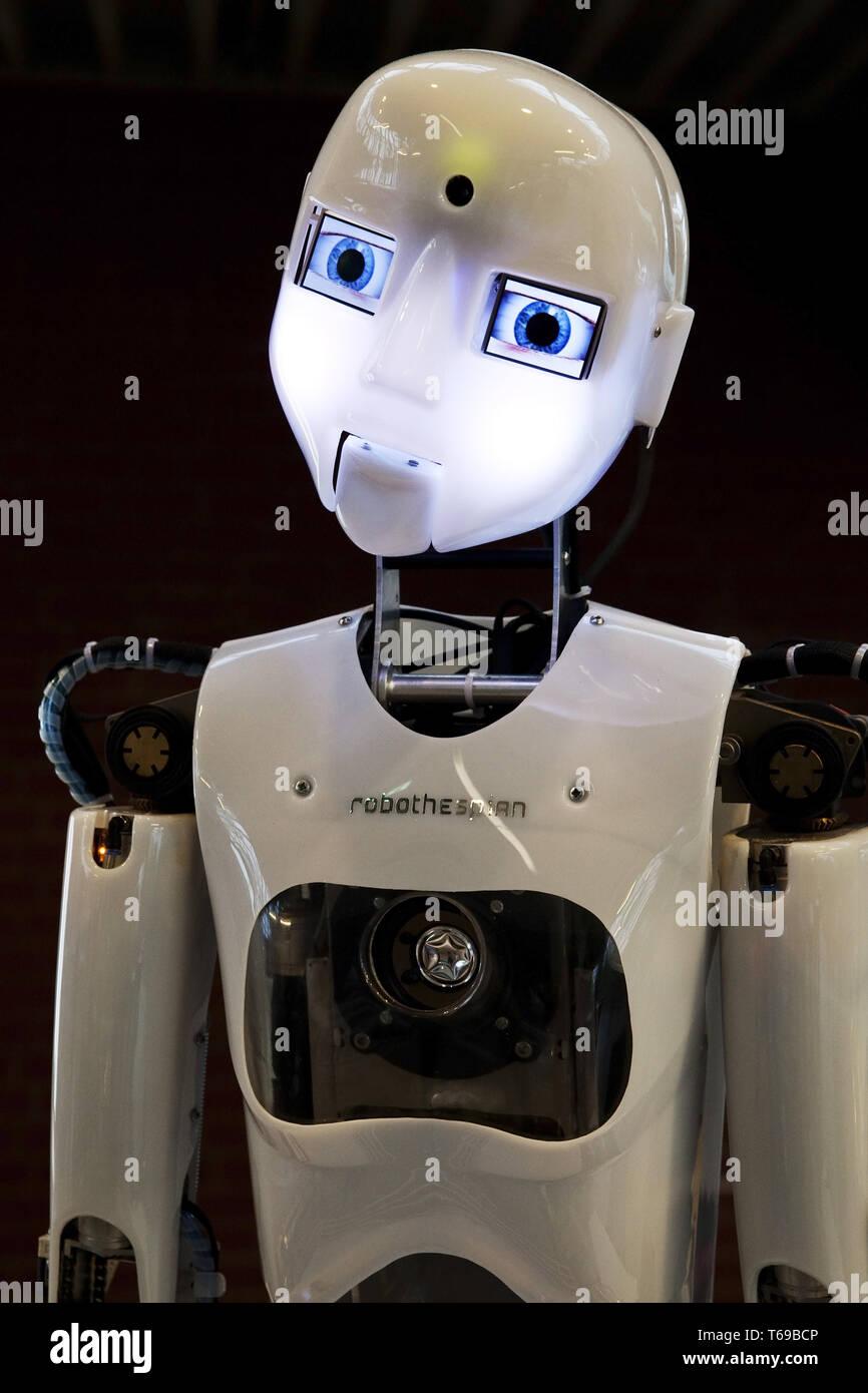 The humanoid robot RoboThespian at DASA, Dortmund, North Rhine Westphalia, Germany, Europe - Stock Image