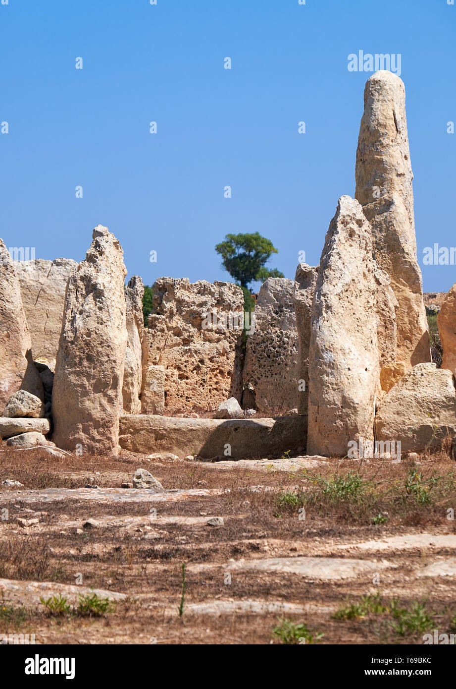 The orthostats forming the entrance to the Northen temple of Hagar Qim, Malta Stock Photo