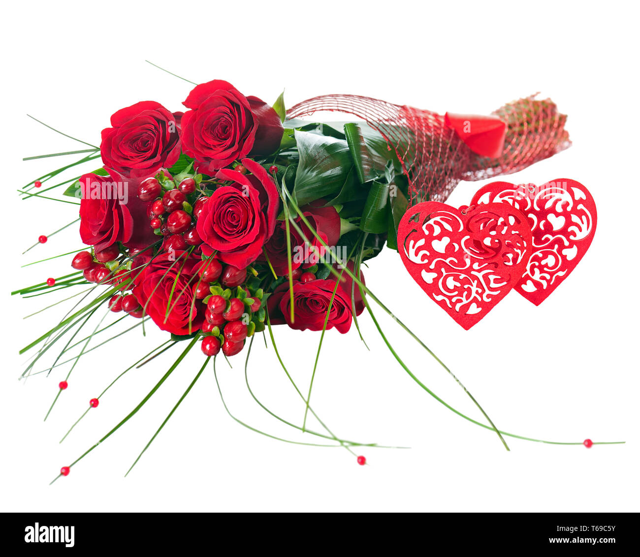 Colorful Flower Bouquet from Red Roses and Two Hea - Stock Image