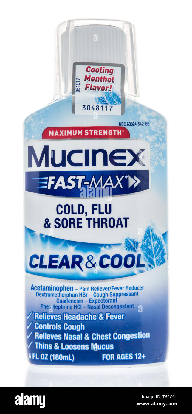 Winneconne, WI -  26 April 2019: A package of Mucinex fast-max cold, flu and sore throat clear and cool on an isolated background - Stock Image