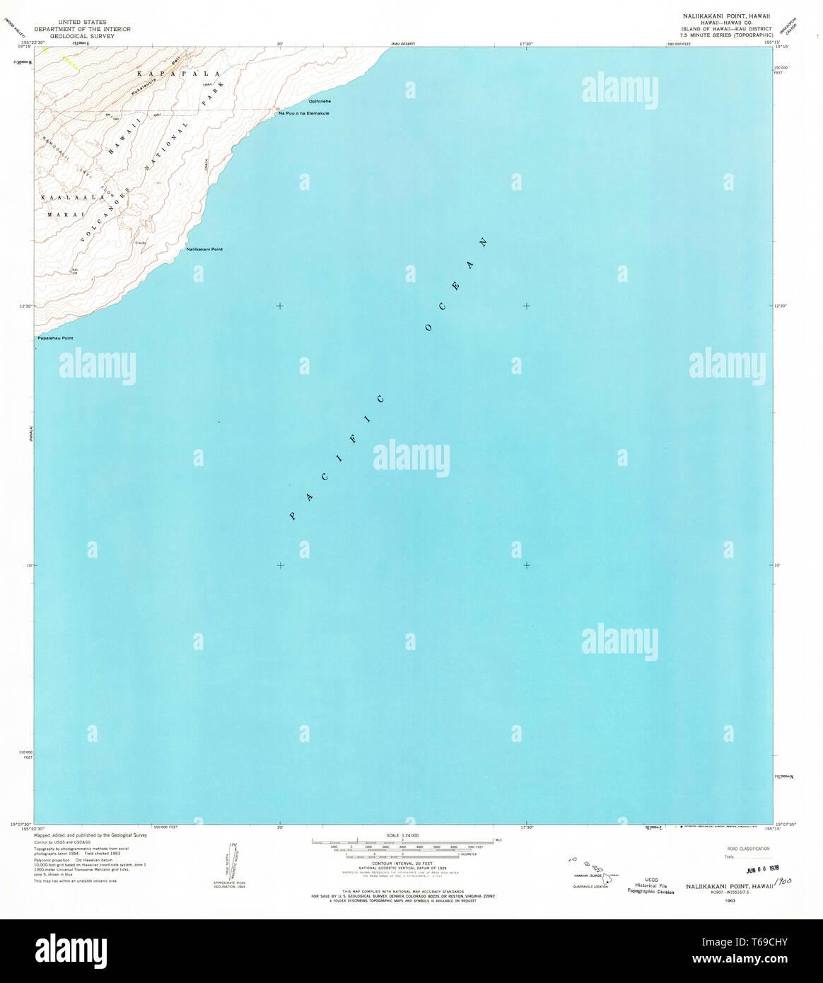USGS TOPO Map Hawaii HI Naliikakani Point 349613 1963 24000 ...