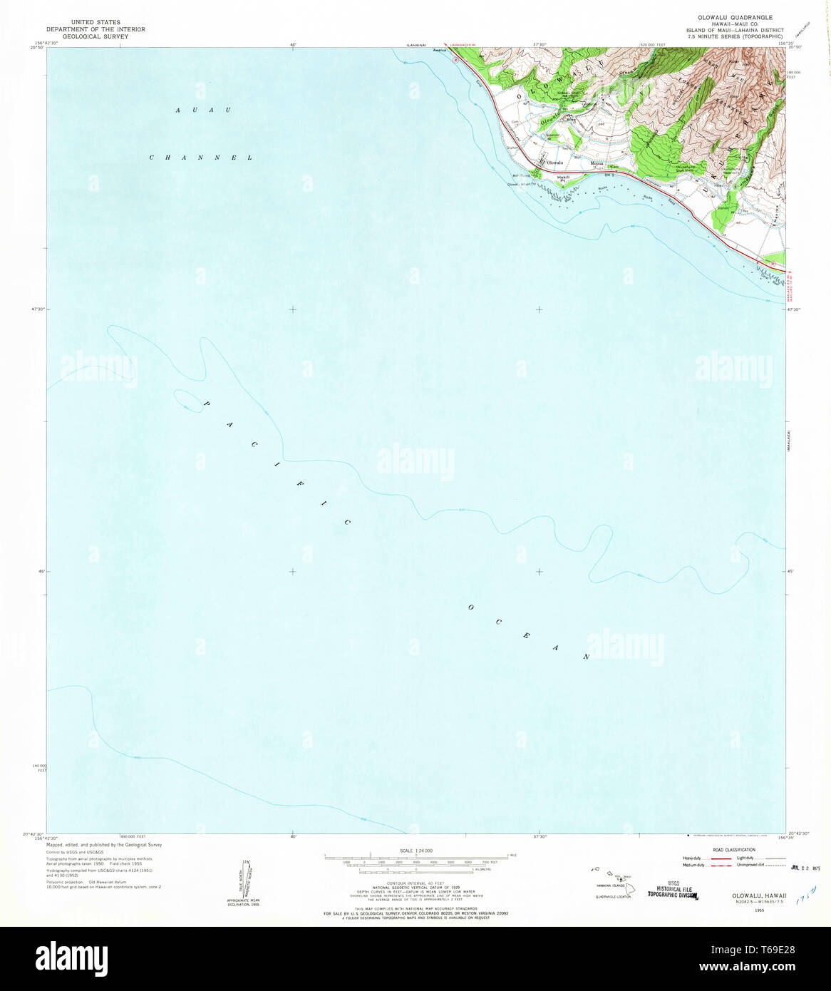 USGS TOPO Map Hawaii HI Olowalu 349629 1955 24000 Restoration Stock ...