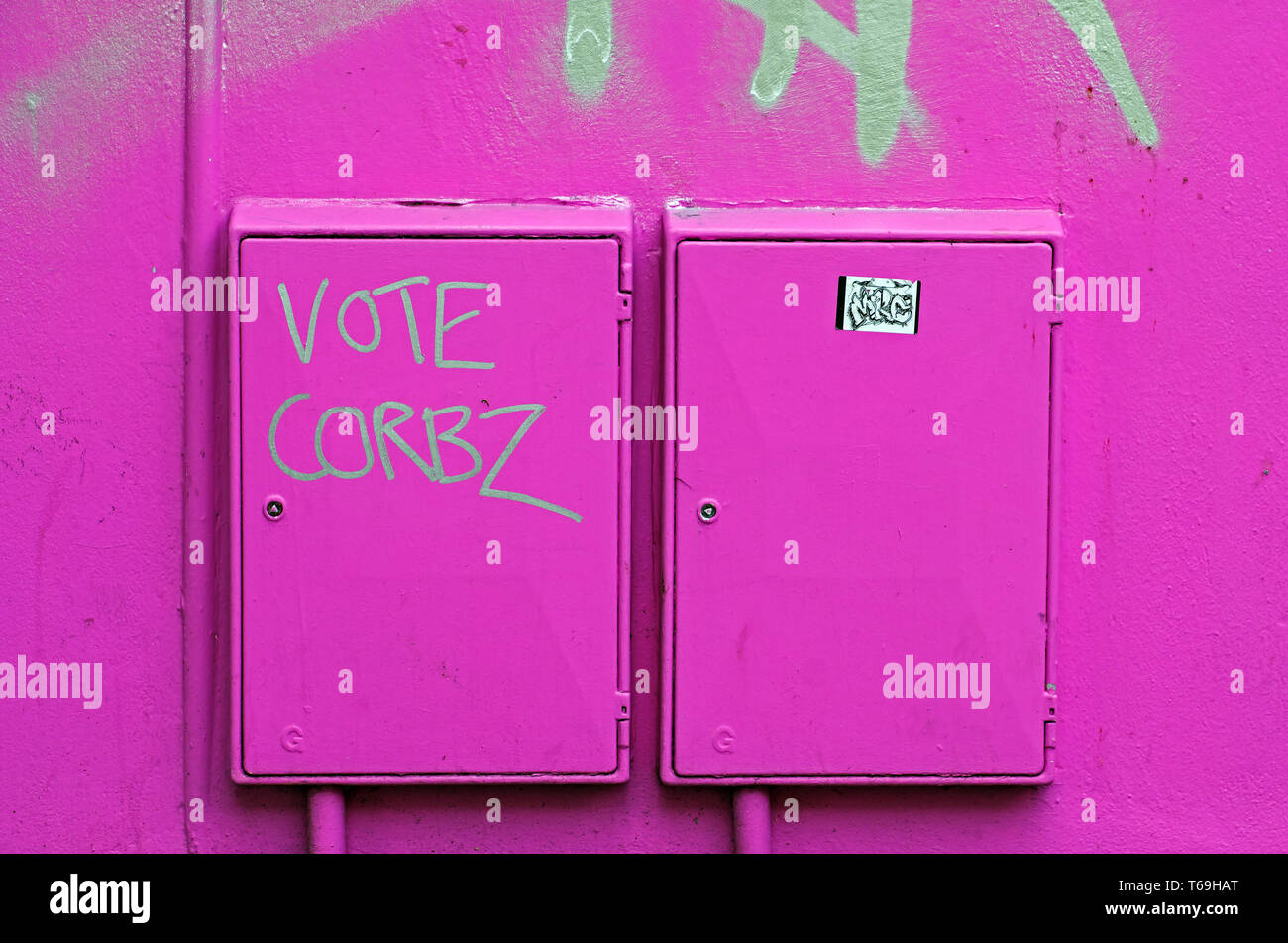 Graffiti in Stokes Croft, Bristol, UK encouraging voters to back the Labour Party in the general election which was held on June 8, 2017. - Stock Image