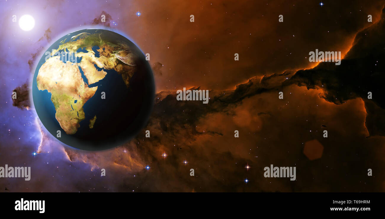 3D Rendering Earth planet from space on a star field and nebula backdrop with Africa continent, for science, business and space related backgrounds. E - Stock Image