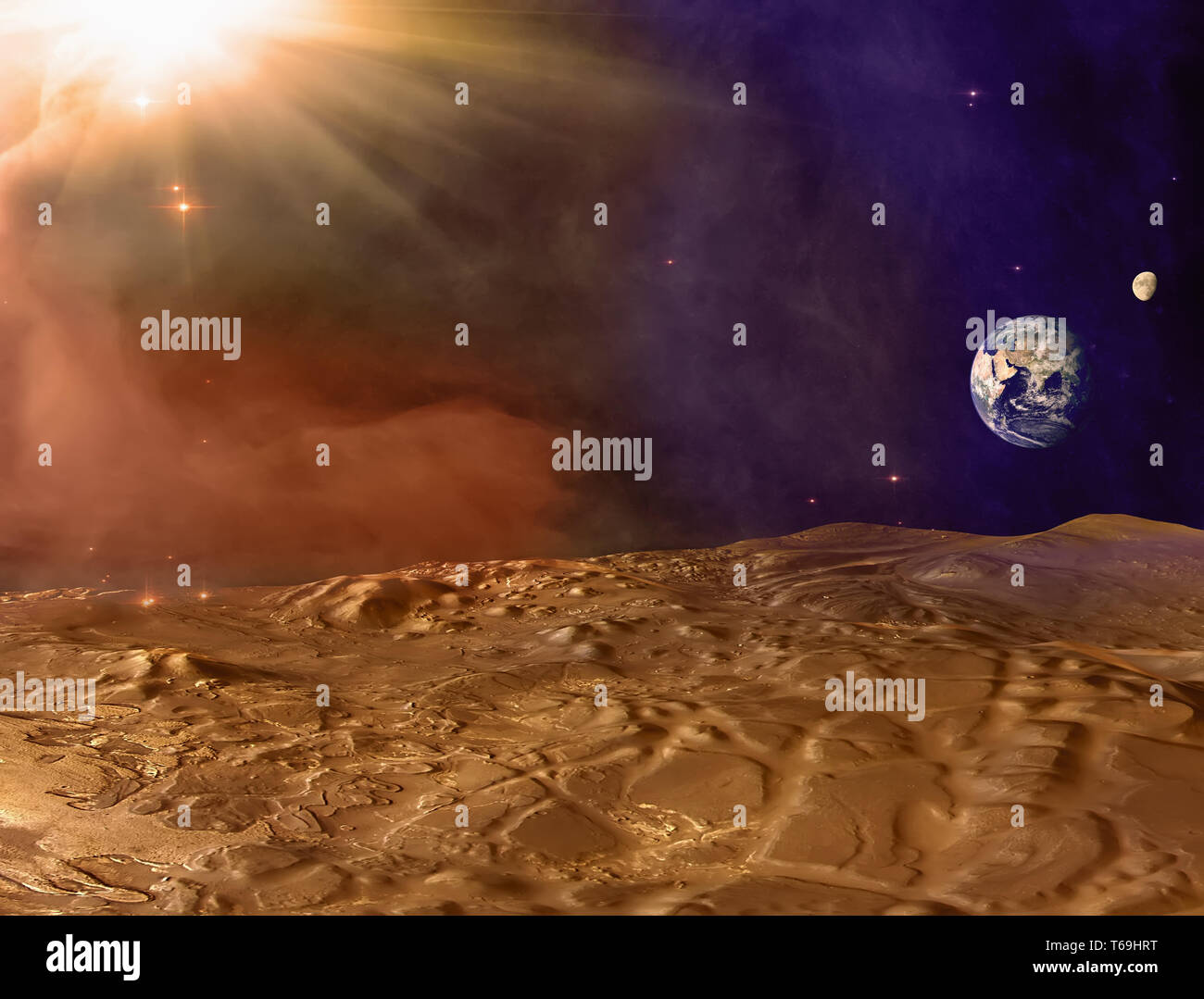 Mars planet landscape. Martian surface and dust in the atmosphere with Earth and Moon on horizon. Dust storm on Mars. Elements of this image furnished Stock Photo
