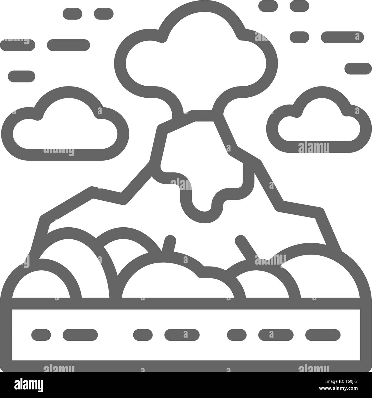 Volcano, mountains landscape line icon. Isolated on white background - Stock Vector