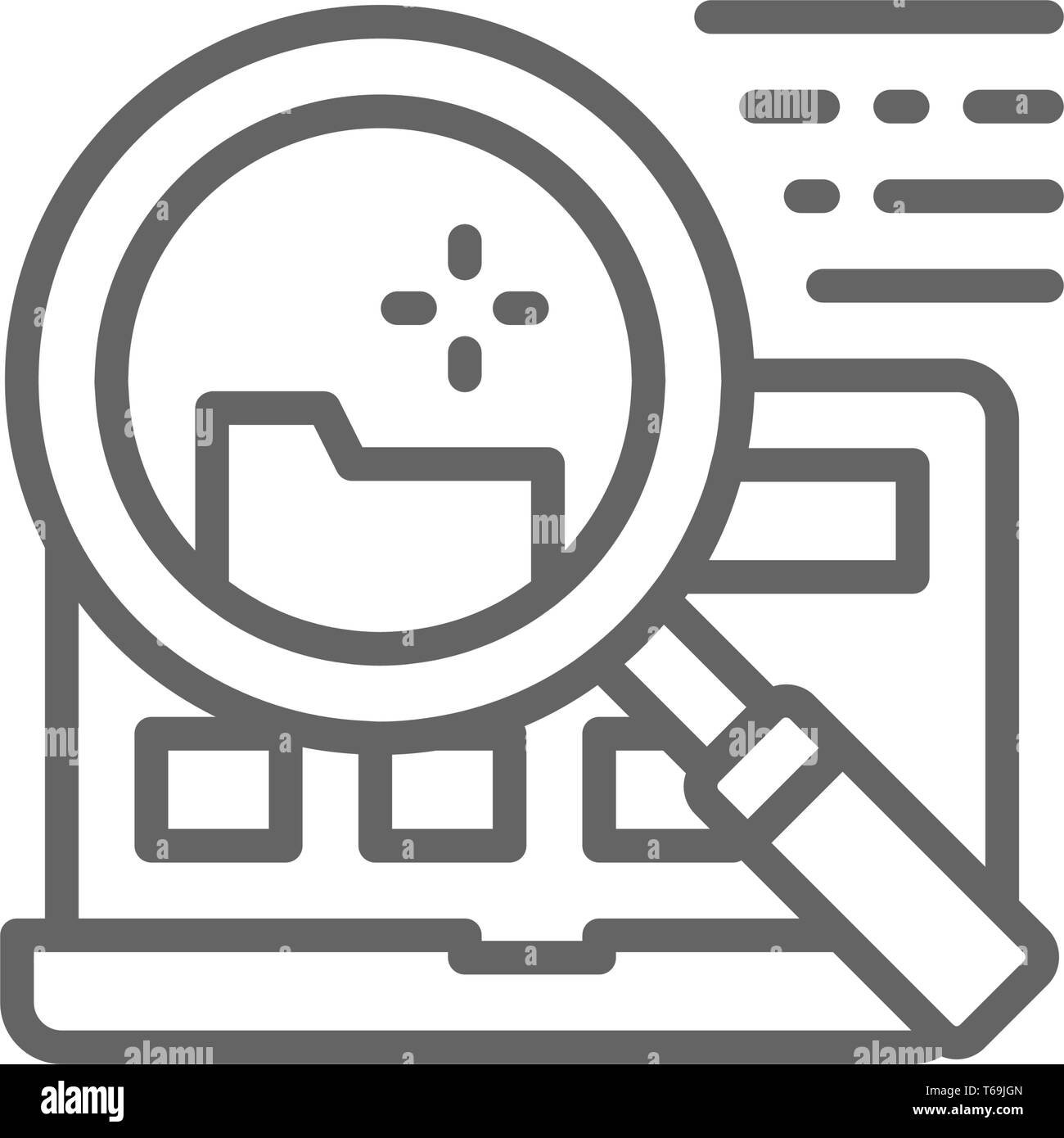 Vector file search in laptop line icon. - Stock Vector