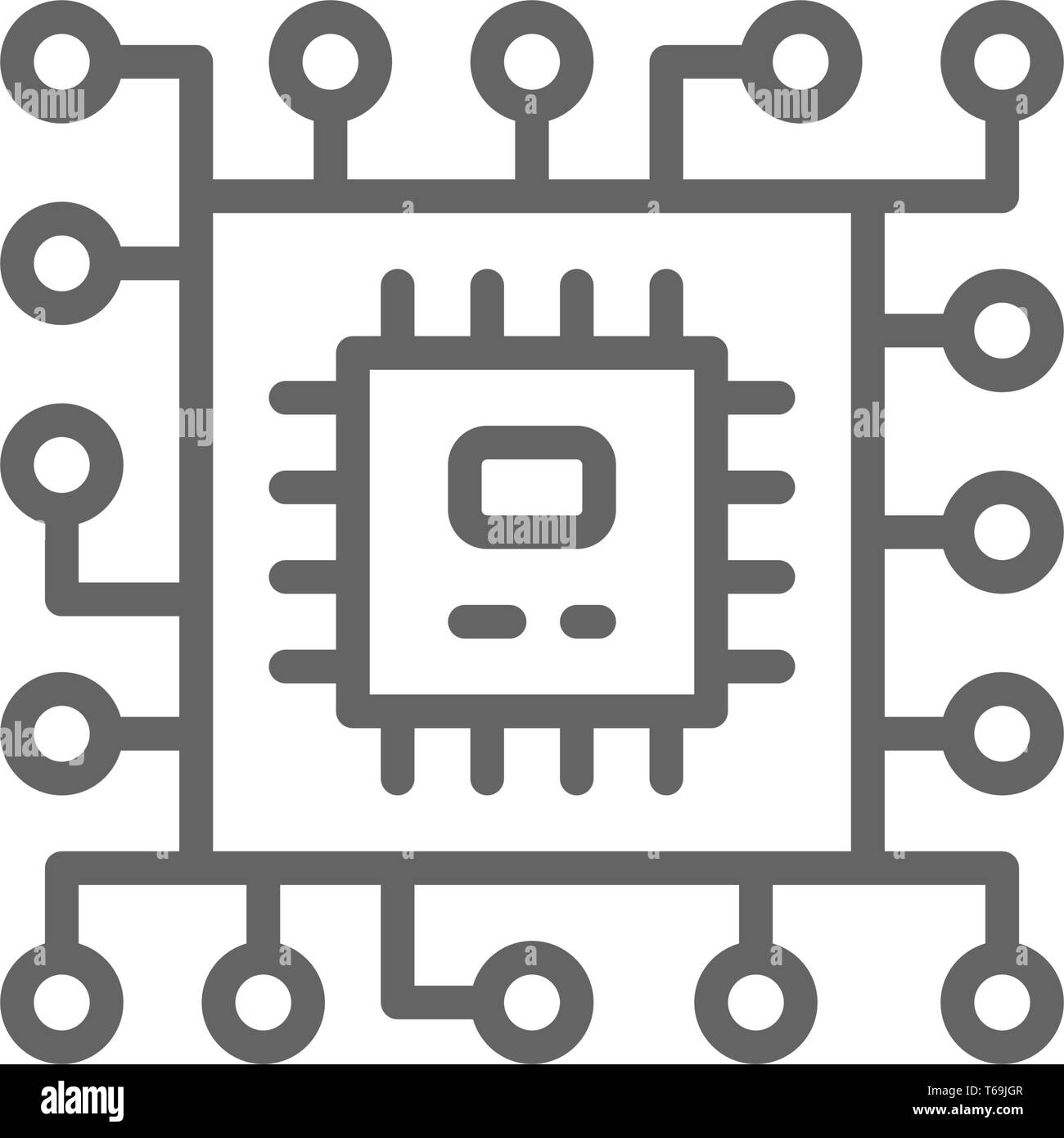Vector CPU microprocessor, computer chip line icon. - Stock Image