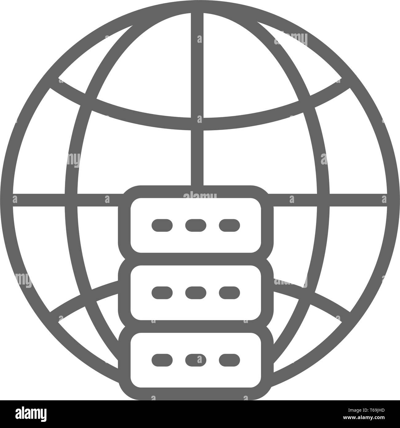 Global hosting server, data centre line icon. - Stock Vector