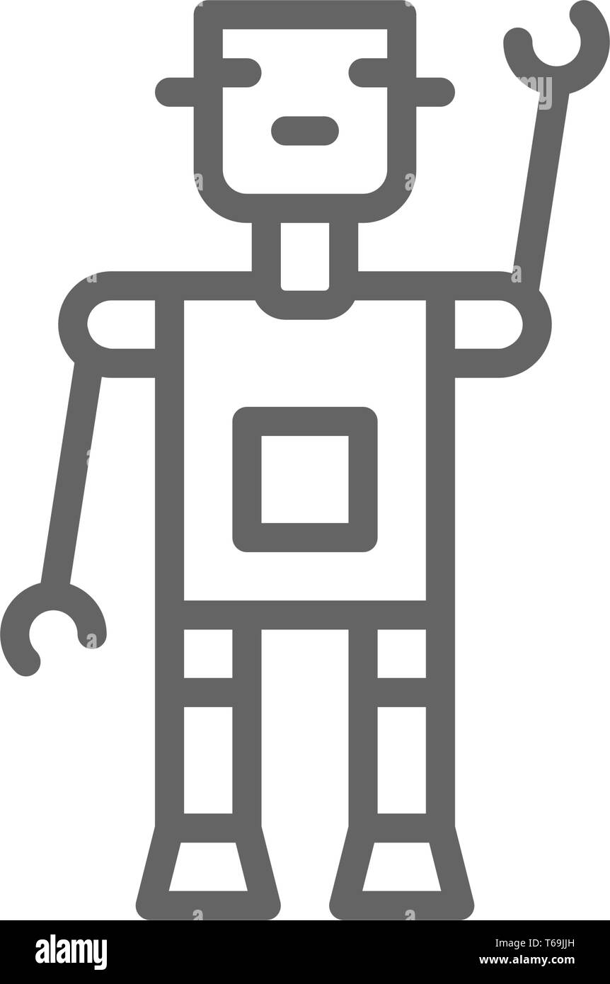 Robot, bot, chatbot, artificial intelligence line icon. - Stock Image
