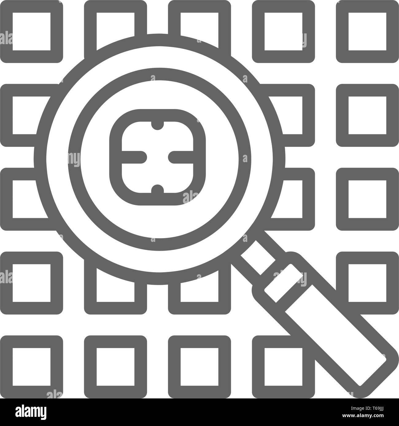 Computer virus search, security system line icon. - Stock Image