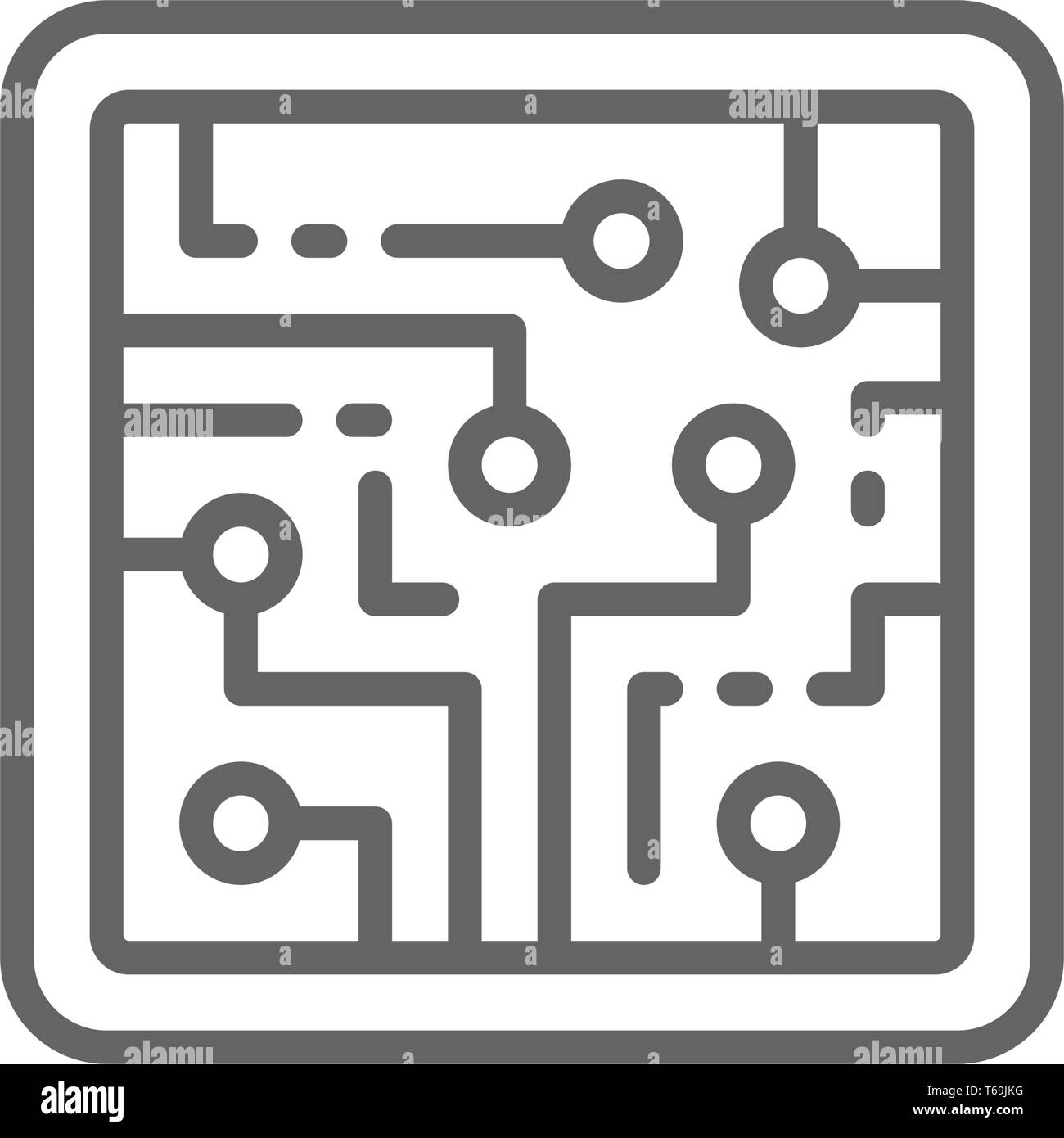 CPU, computer chip, electronic circuit, processor line icon. - Stock Image