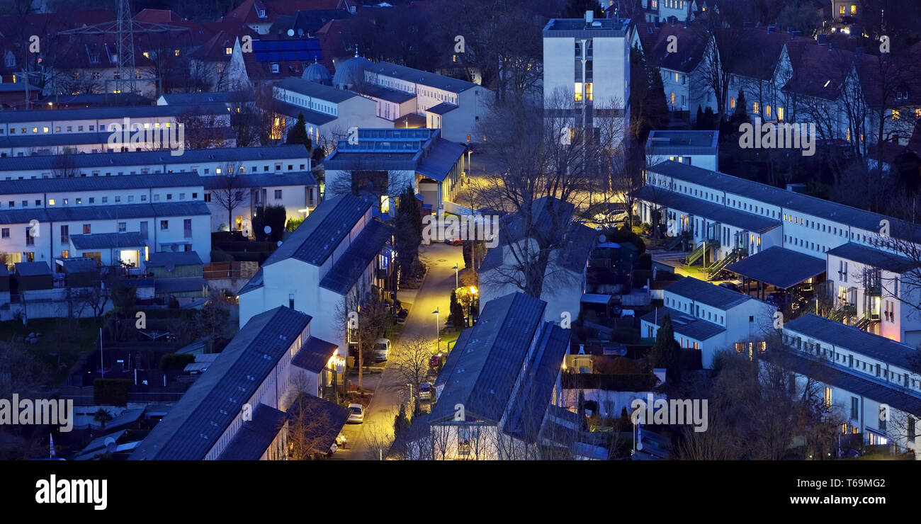 new settlement Schuengelberg in twilight, Gelsenkirchen, Ruhr area, Germany - Stock Image
