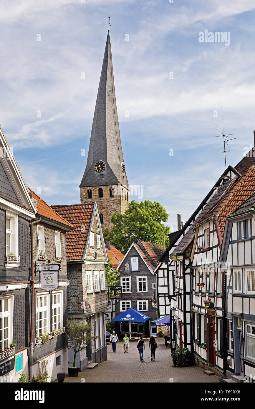 church of St Georg in the old city, Hattingen, Ruhr Area, North Rhine-Westphalia, Germany, Europe - Stock Image