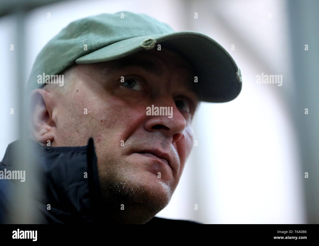Moscow, Russia. 30th Apr, 2019. MOSCOW, RUSSIA - APRIL 30, 2019: Igor Podporin, charged with damaging a cultural artefact, appears for a sentence hearing at Moscow's Zamoskvoretsky Distric Court. On May 26, 2018, Podporin attacked Ilya Repin's painting Ivan the Terrible and His Son Ivan (valued at approximately 720 million roubles) with a metal pole at the State Tretyakov Gallery. Experts say the cost of the damage is estimated at around 30 million roubles. Mikhail Tereshchenko/TASS Credit: ITAR-TASS News Agency/Alamy Live News - Stock Image