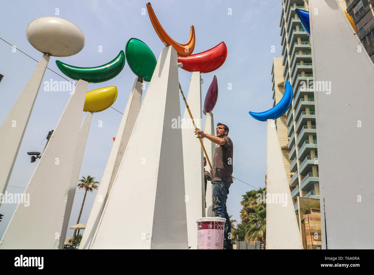 Beirut, Lebanon  30th Apr, 2019  Workers paint and decorate