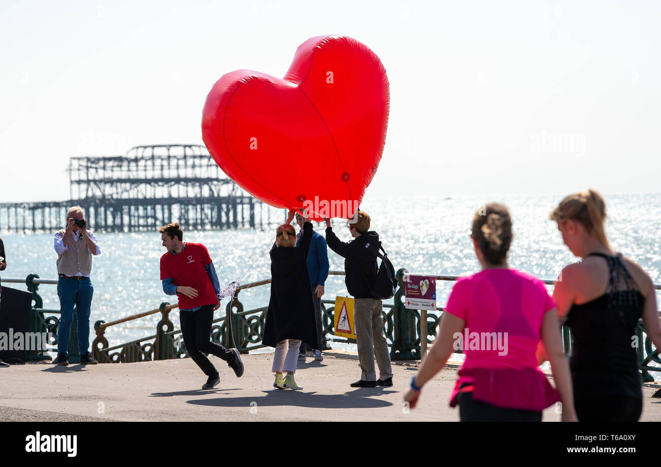 """Brighton UK 30th April 2019 - An inflatable red heart is carried along Hove seafront to promote the """"Run for Love """" event which takes place on 1st June as they enjoy the warm sunny weather this morning with it forecast to reach into the high teens in some parts of the South East today. Credit: Simon Dack/Alamy Live News Stock Photo"""