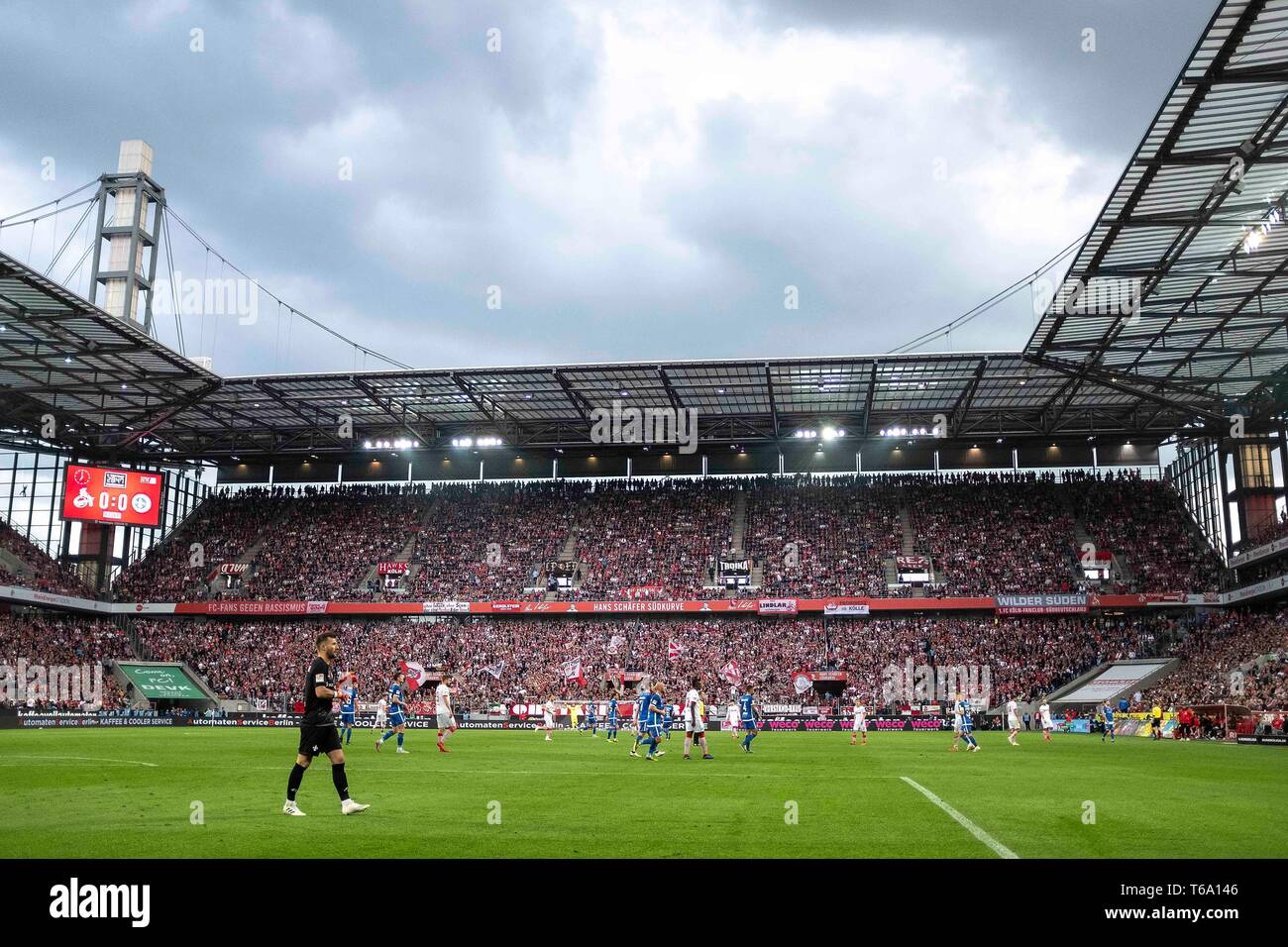 Overview Rhein-Energie-Stadion, Soccer 2. Bundesliga, 31. matchday, FC Cologne (K) - Darmstadt 98 (DA) 1: 2, on 26/04/2019 in Koeln/Germany. ## DFL regulations prohibit any use of photographs as image sequences and/or quasi-video ## ¬ | usage worldwide - Stock Image