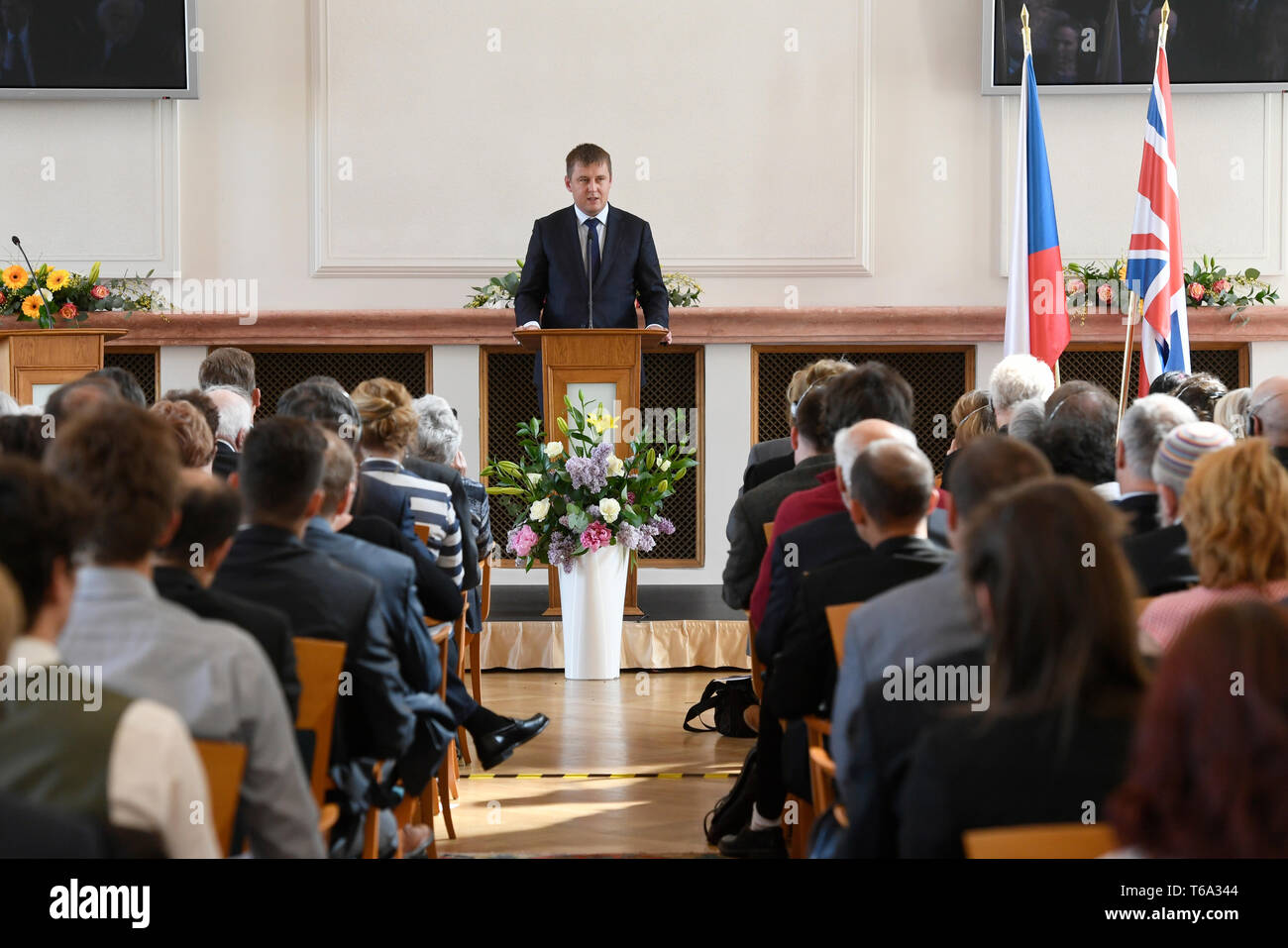 Prague, Czech Republic. 30th Apr, 2019. Czech Foreign Minister Tomas Petricek remembers organisers of children's rescue transport from Czech lands controlled by Nazi Germany to Britain in 1939 and thank families that accepted Czech children, on April 30, 2019, in Prague, Czech Republic. Credit: Michal Krumphanzl/CTK Photo/Alamy Live News - Stock Image