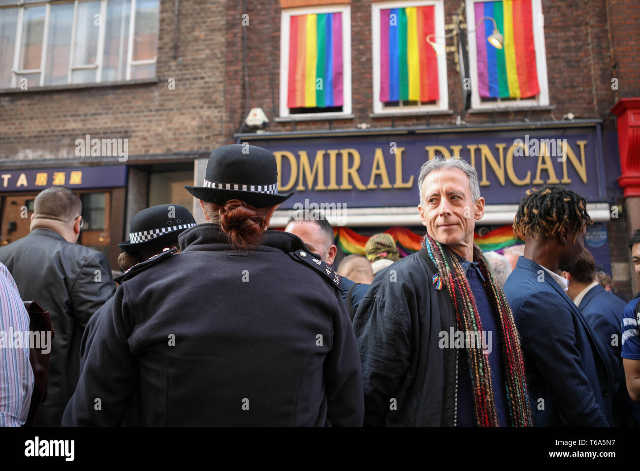 Soho, London, UK. 30th Apr, 2019. 20th anniversary of the tragic bombing at gay pub Admiral Duncan in Soho with a community-led act of Remembrance outside the historic venue in Old Compton Street. On the same day in 1999, a nail bomb attack at the pub in Soho killed three people and wounded 79. Four of the survivors had to have limbs amputated. Credit: Penelope Barritt/Alamy Live News Stock Photo