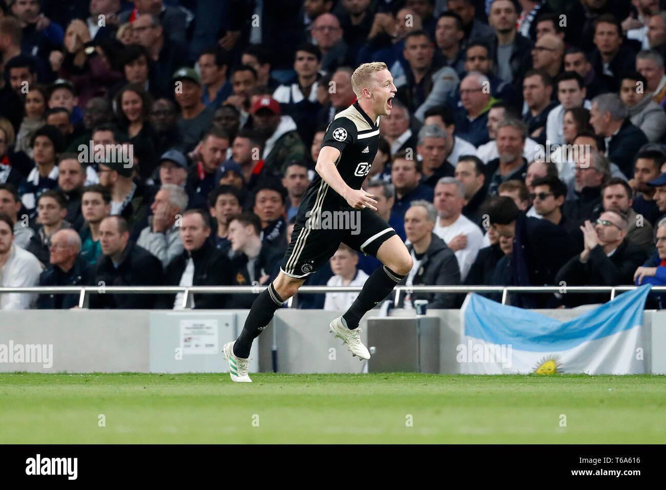 LONDON Football, 30-04-2019, season 2018 / 2019 , Tottenham Stadium . Semi final Champions League first leg. Ajax player Donny van de Beek celebrating the 0-1 during the game Tottenham Hotspur - Ajax - Stock Image