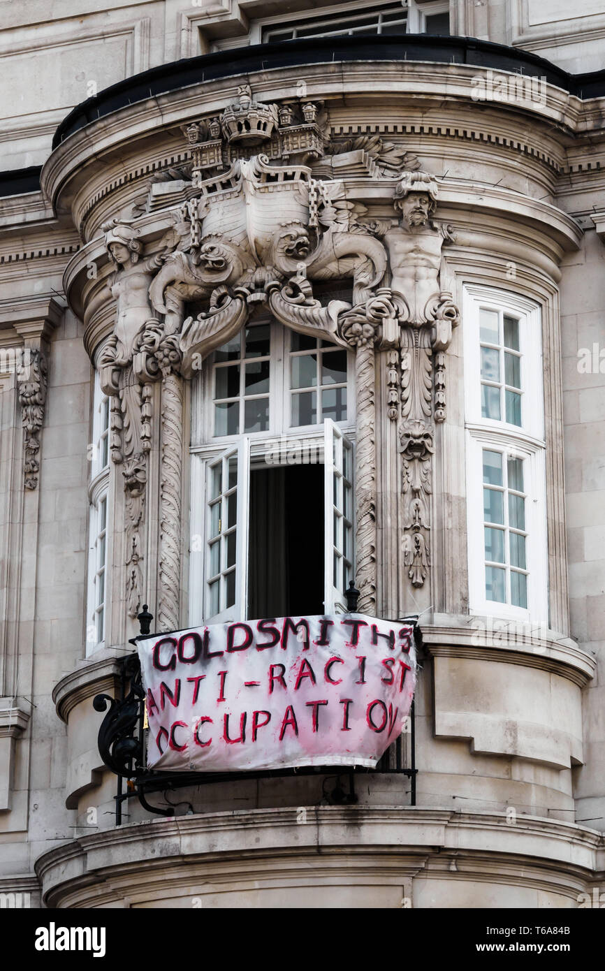 London, UK. 30th April 2018. Goldsmiths Anti-Racist Action celebrate 50 days of occupation of the management building, the former Deptford Town Hall with a party. The occupation began when the university failed to respond adequately to racist abuse of a candidate in the student elections. Students claim the university fails to treat BAME students and workers fairly, and among other demands insist Goldsmiths produces a strategic plan to tackle racism. Credit: Peter Marshall/Alamy Live News Stock Photo