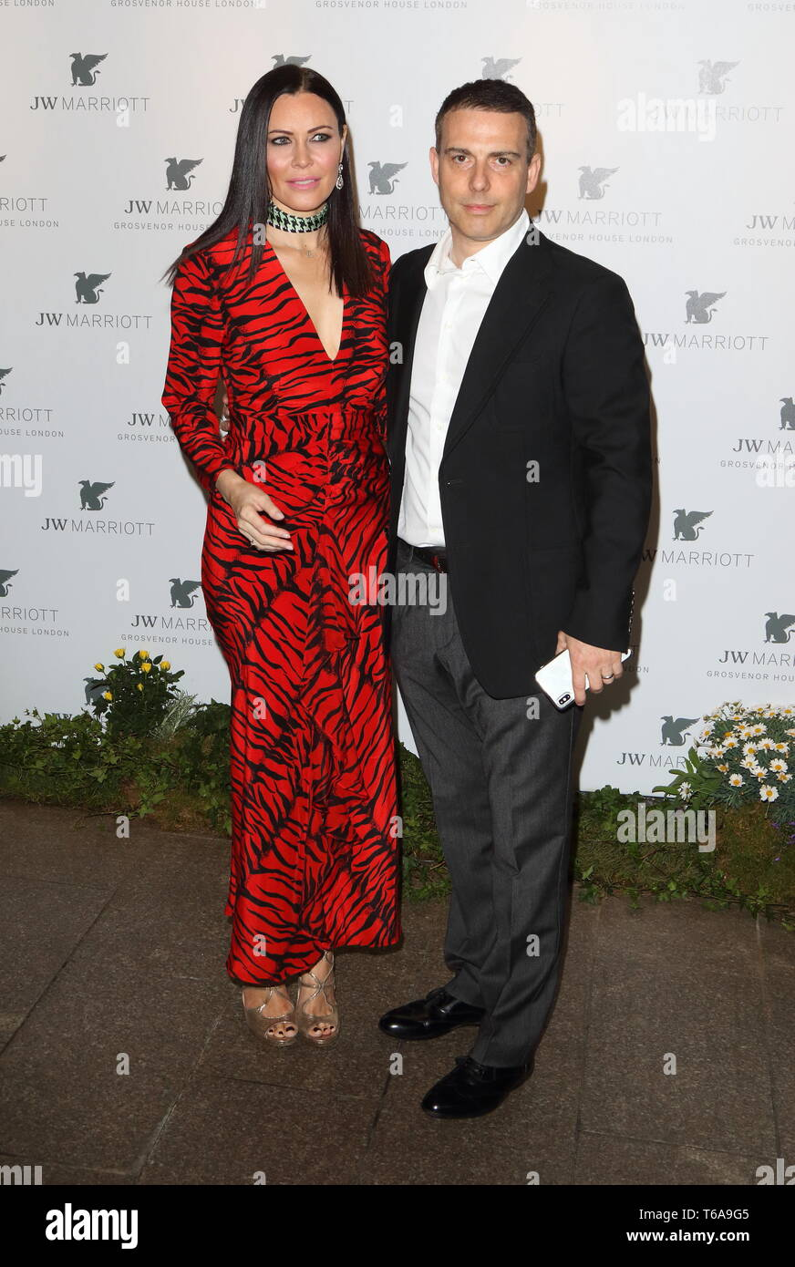 Linzi Stoppard and Will Stoppard at the JW Marriott Grosvenor House - 90th anniversary party at the JW Marriott Grosvenor House, Park Lane - Stock Image