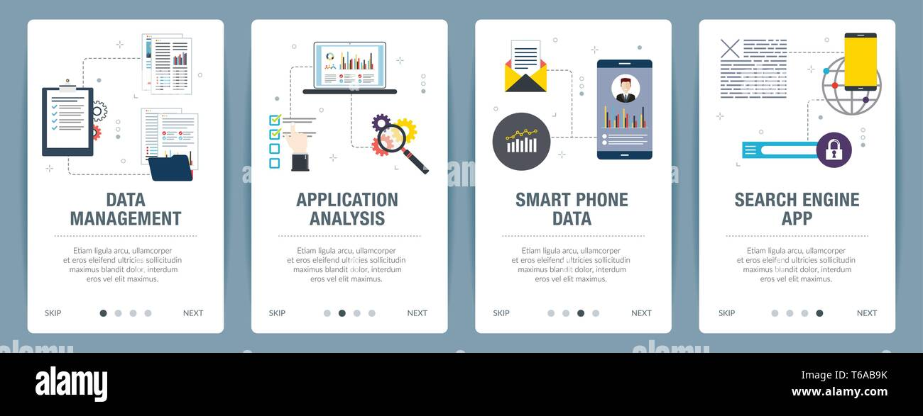 Web banners concept in vector with data management