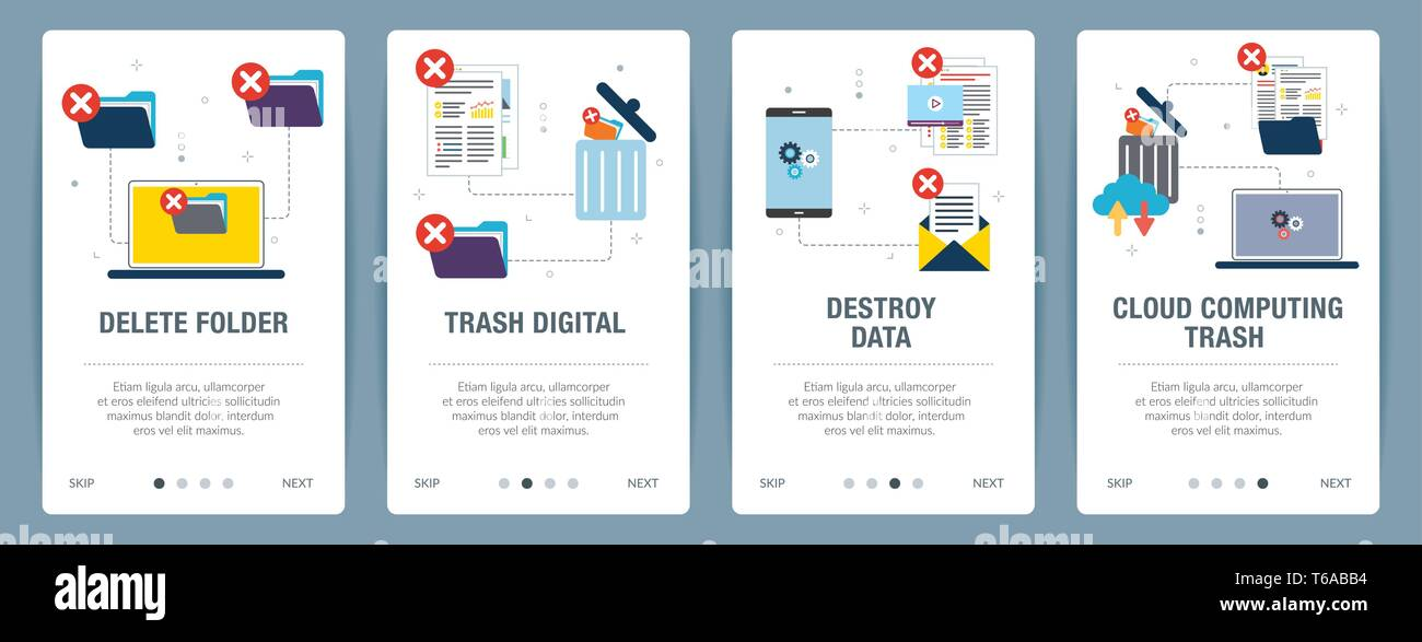 Vector set of vertical web banners with delete folder, trash digital, destroy data and cloud computing trash. Vector banner template for website and m - Stock Vector