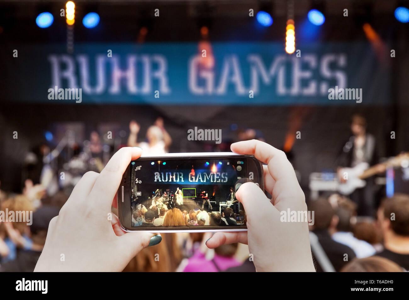 concert of Luxuslaerm, Ruhr Games, Zollverein Coal Mine, Essen, Ruhr Area, Germany, Europe - Stock Image