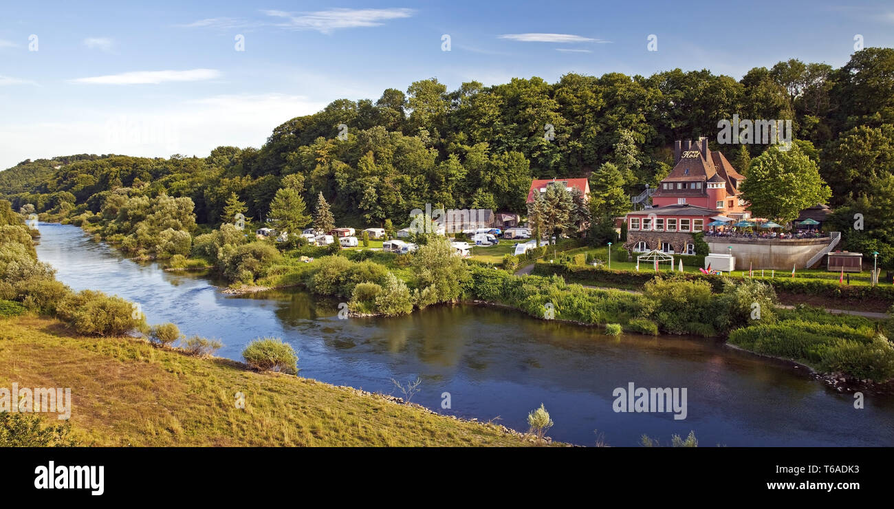 river ruhr with campsite, restaurant and hotel An der Kost, Hattingen, Ruhr Area, Germany - Stock Image