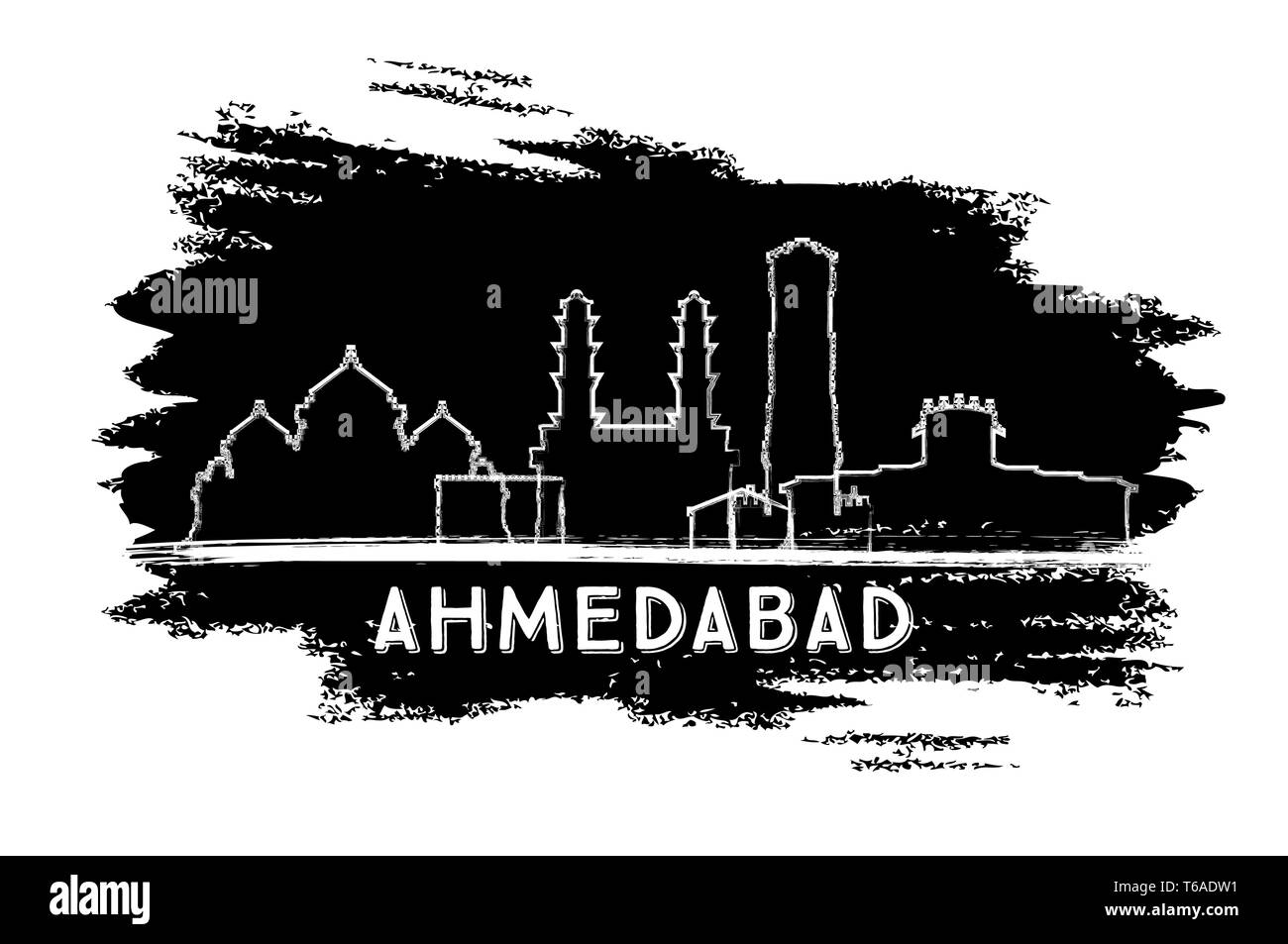 Ahmedabad India City Skyline Silhouette. Hand Drawn Sketch. Vector Illustration. Business Travel and Tourism Concept with Historic Architecture. - Stock Vector