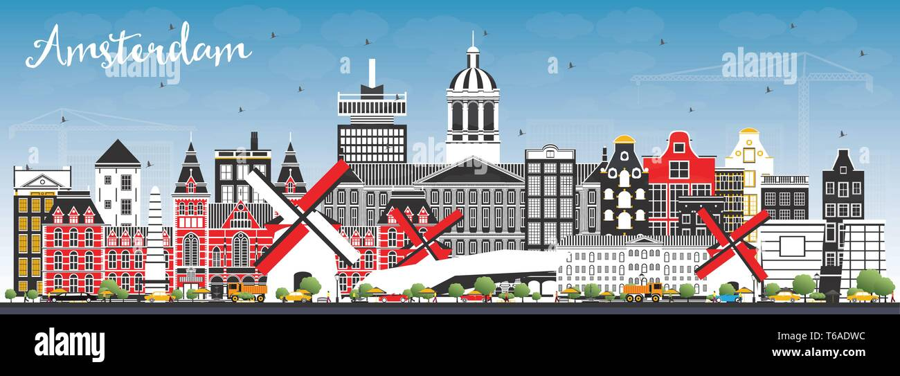 Amsterdam Holland City Skyline with Color Buildings and Blue Sky. Vector Illustration. Business Travel and Tourism Concept with Historic Architecture. - Stock Vector