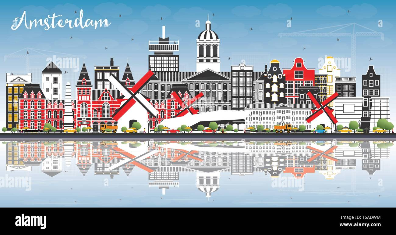 Amsterdam Holland City Skyline with Color Buildings, Blue Sky and Reflections. Vector Illustration. Business Travel and Tourism Concept. - Stock Vector