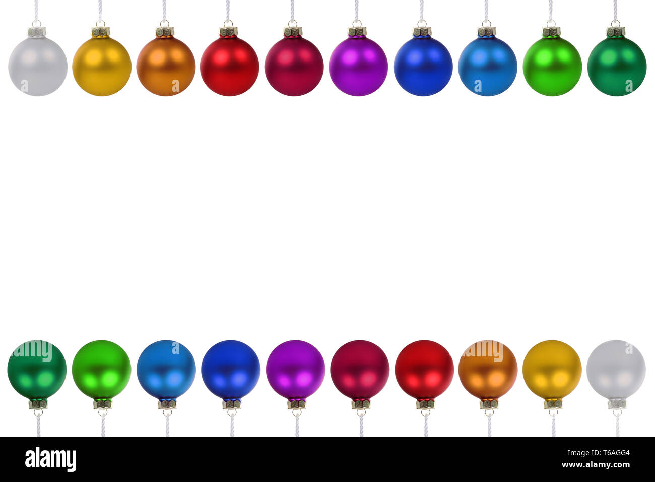 Weihnachtskugeln Weihnachten bunte Kugeln Textfreiraum Copyspace Freisteller freigestellt isoliert - Stock Image