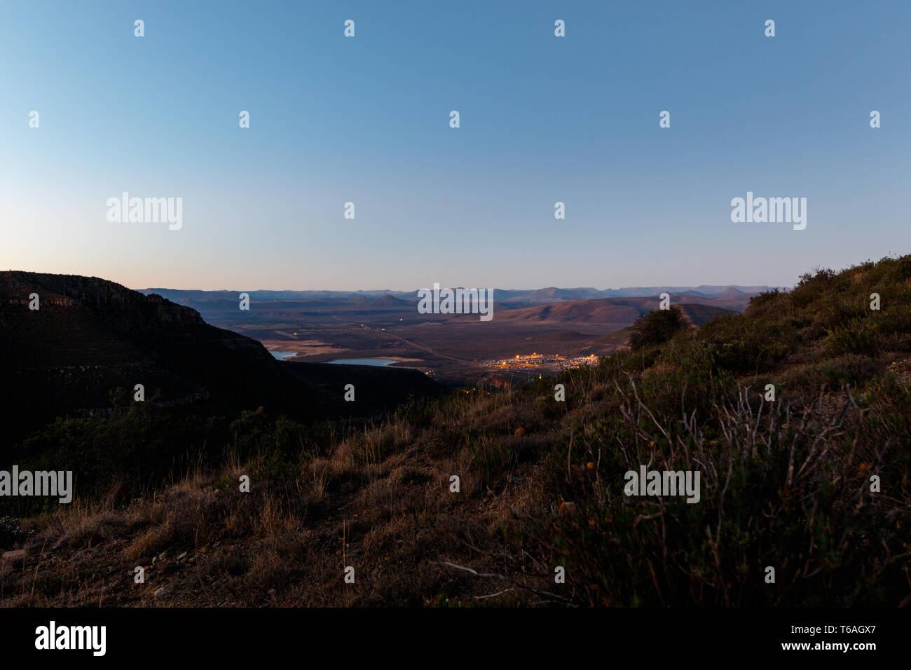 Overlooking the town - Graaff-Reinet, Valley Of Desolation - Stock Image