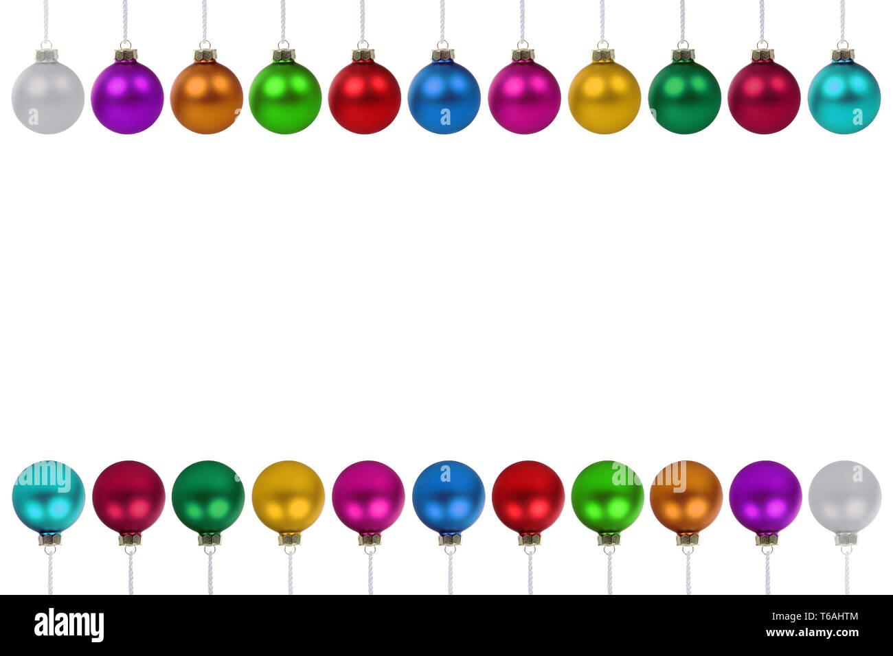 Weihnachtskugeln Weihnachten viele bunte Kugeln Textfreiraum Copyspace Freisteller freigestellt isoliert - Stock Image