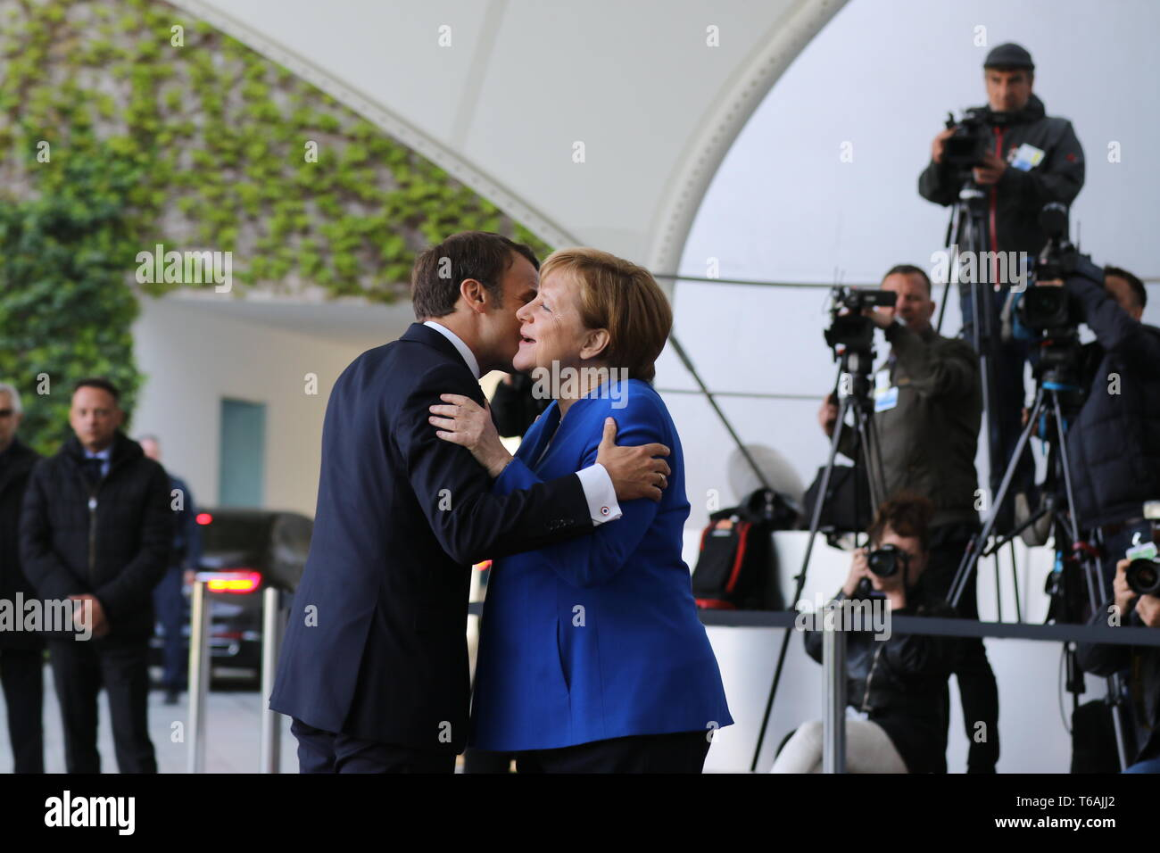 29.04.2019, Berlin, Germany, Chancellor Angela Merkel and the President of the French Republic, Emmanuel Macron in the Chancellery. Chancellor Angela  - Stock Image